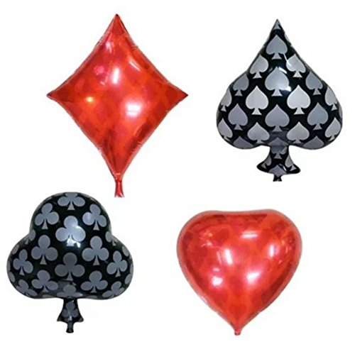 Zhiheng (Pack of 4) Playing Cards Diamonds Club Spades Heart Shaped Helium Foil Balloons for Wedding Birthday Anniversary Graduation Party Decoration -
