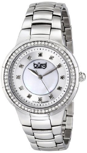 Burgi Women's BUR093SS Silver Crystal Accented Swiss Quartz Watch with Mother of Pearl Dial and Silver Bracelet