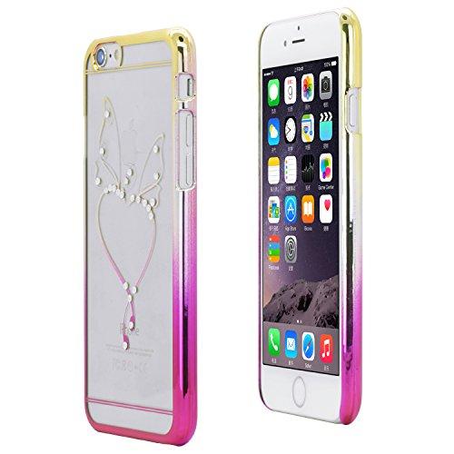 iProtect Schutzhülle Apple iPhone 6 Hülle Glitzer-Strass-Edition geflügeltes Herz in transparent, gold und pink