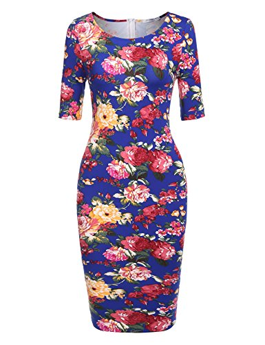 Floral Tulip Dress - Meaneor Womens Plus Size Deep V Neck 3/4 Sleeve Tulip Bodycon Dress (Blue XXL)