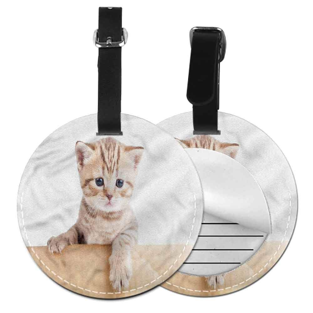 Luggage Tags Cat,Retro Style Kitten Pattern Holder Portable Label