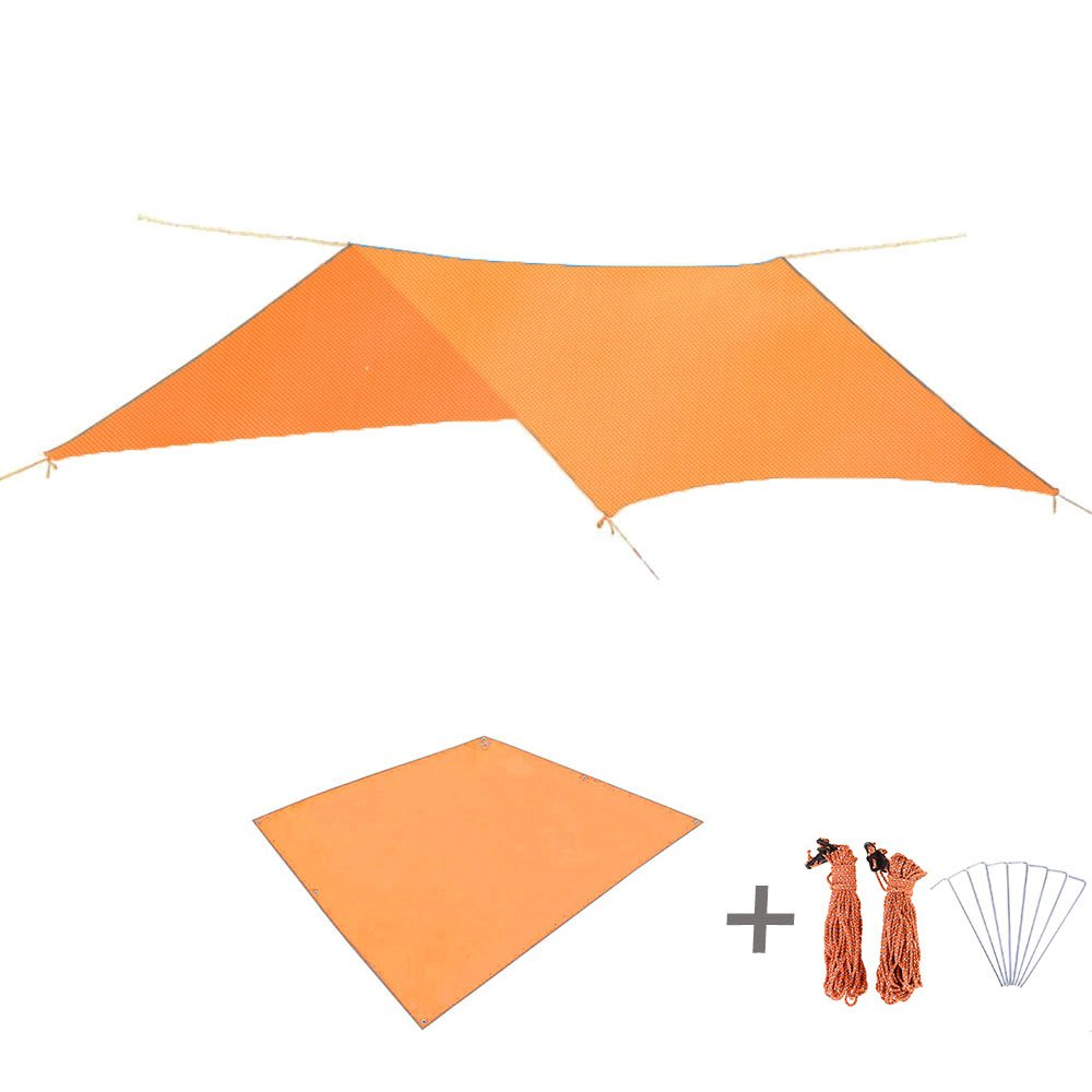 TRIWONDER Waterproof Rain Fly Hammock Camping Shelter Tent Tarp Footprint Sunshade Mat for Hiking Backpacking Beach Picnic (Orange+Accessories) by TRIWONDER