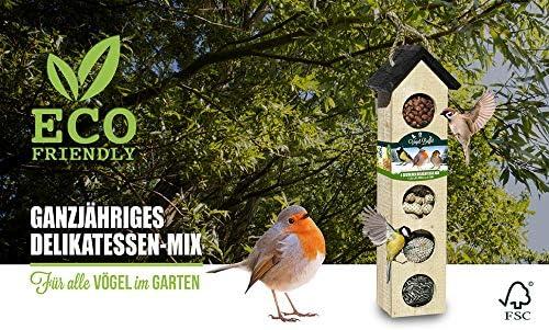 BAZA HOUSE OF SEEDS Komplettset Vogel-Buffet Chalet 5 Futters/äule FSC Holz zum h/ängen Vogelfutterhaus Vogelf/ütterer ganzjahrefutter inklusive Vogelfutter