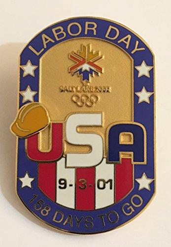 (Rare Labor Day 2001 Salt Lake City Winter Olympics Countdown Pin LE 266/1000)