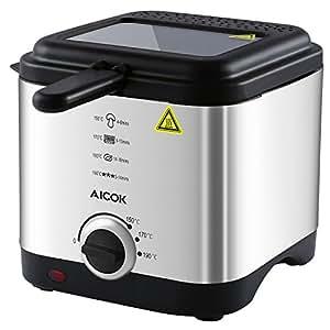 Aicok Freidora con TACTO FRIO, compacta de 1,5 litros, Tapa y Cesta de Acero Inoxidable y antisalpicaduras, Control De Temperatura y Ventanas Transparentes de Visión Superior, Libre de BPA