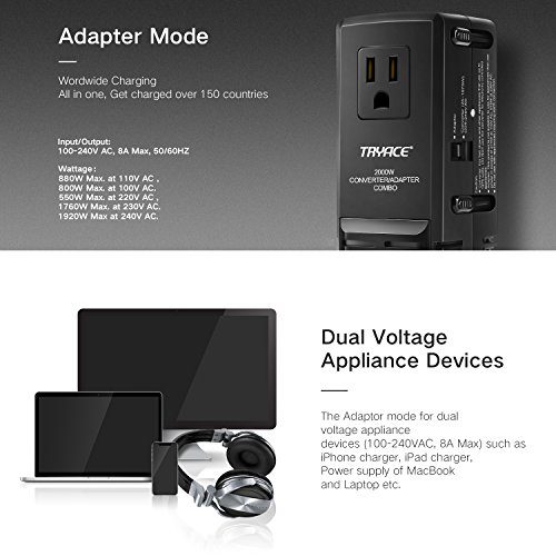 TryAce 2000W Worldwide Travel Converter and Adapter Set Down Voltage 240V to 110V Combo International Voltage Converter for Hair Dryer Phones Laptop All in One Plug Adapter Wall Charge for UK/AU/US/EU by TryAce (Image #2)
