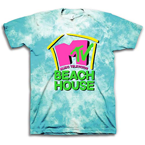 MTV Mens Tie Dye Shirt - #TBT Mens 1980's Clothing - I Want My T-Shirt (Beach House, Small) ()