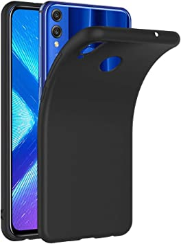 AICEK Coque Honor 8X, Noir Silicone Coque pour Honor 8X Housse Huawei Honor 8X Noir Silicone Etui Case (6,5 Pouces)