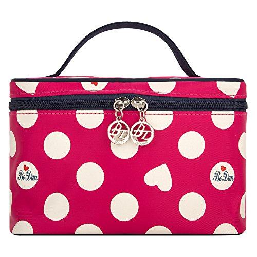 Cosmetic Organizer for Girls, Yeiotsy Portable Cute Polka Dots Cosmetic Bag Travel Makeup Bag (Small, Rose - Polka Cute Dots