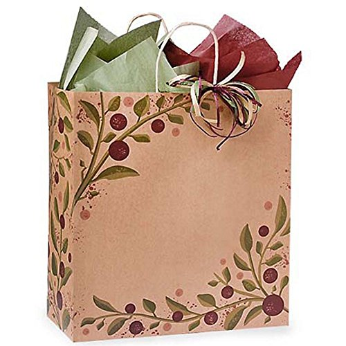 Tuscan Harvest Paper Shopping Bags - Regal Size - 14 1/2 x 9 x 16 1/4in. - Pack of 150 by NW