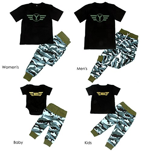 63a043240 Dad Mom Baby Kids Family Match Camouflage Clothes Tee Romper Tops+Camo  Pants Set