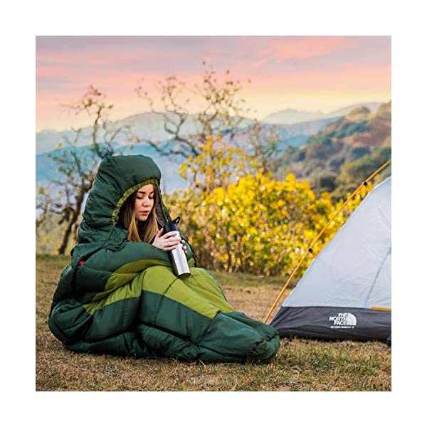 HiHiker Mummy Bag + Travel Pillow w/Compact Compression Sack - 4 Season Sleeping Bag for Adults & Kids - Lightweight Warm and Washable, for Hiking Traveling & Outdoor Activities 5