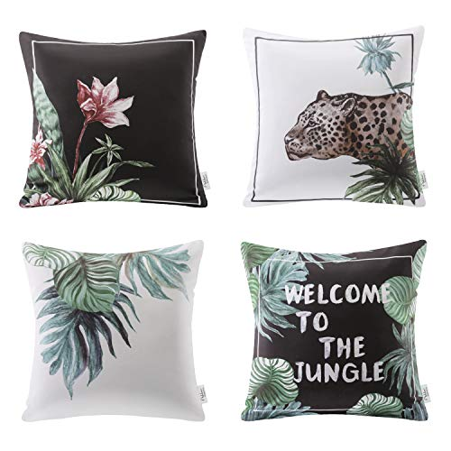 Ashler Tropical Series Decorative Throw Pillow Cover for Home Decor Coach Living Room 18 X 18 inch Set of 4 (Home Decos)