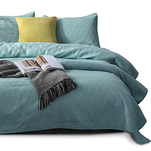 KASENTEX Quilted Coverlet Set - Pre Washed - Luxury Microfiber Soft Warm Bedding - Solid Colors Bedspread - Contemporary Star Design, King + 2 Shams, Aqua Sea Green (Quilts Aqua)