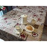 "Tovaglia antimacchia resinata Cucina ""Holly"" Cuori Tirolese Country Chic cm 140x180, BORDEAUX"