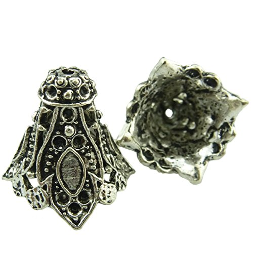 Pendant/Connector@JewelryDesign88 (10 Pack) Hollow Filigree Flower Tassel End Cap/Vintage Silver/Retro Filigree Jewelry Finding/Antique Silver Charms
