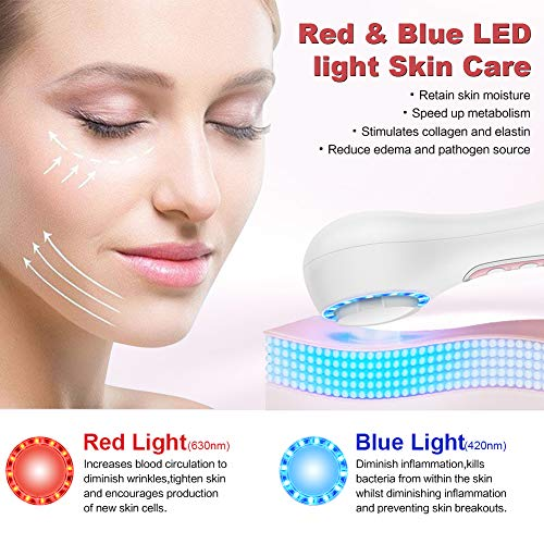 UMICKOO Facial Cleansing Brush,Red & Blue LED Light Skin Care Device,Rechargeable IPX7 Waterproof with 5 Brush Heads,Face Brush Use for Exfoliating, Massaging and Makeup Blending