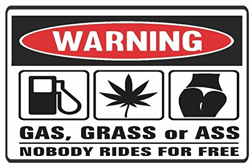 Edwin Group of Companies 2 (PCS) Funny WARNING GAS, GRASS OR ASS Vinyl Sticker Decals Weather ()