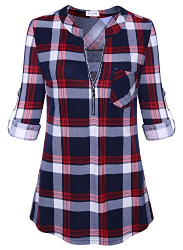 (Bulotus Women's Plaid Shirt 3/4 Sleeve Work Office Casual Ladies Flannel Tops Red M)