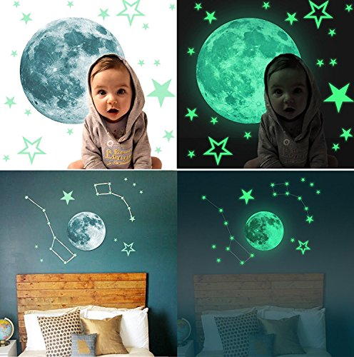 Marsway Kids Removable Moon Stars Glow In The Dark Sticker Night Luminous Room Wall Decal Stickers