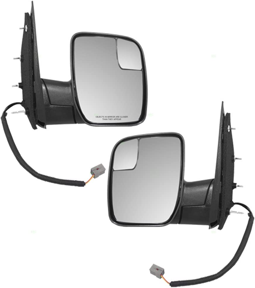 Driver and Passenger Power Side View Mirrors with Spotter Glass Sail Type Replacement for Ford Van AC2Z 17683 AA AC2Z 17682 AA