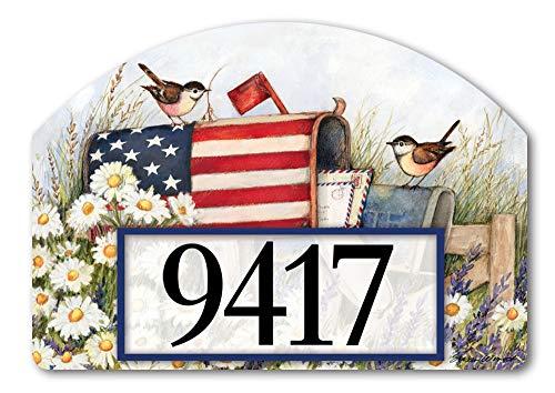 Yard DeSigns Studio M Patriotic Mailbox Spring Summer Birds Decorative Address Marker Yard Sign Magnet, Made in USA, Superior Weather Durability, 14 x 10 Inches