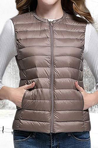 Rond Col Vêtements Femmes Grand Fit Camisoles Élégant Manteaux Packable Plumes Brun Court Automne Manches Hiver Slim Gilet Sans Hipster Taille Léger Y0WOqw