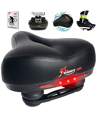 Giddy Up! Bike Seat - Most Comfortable Memory Foam Waterproof Bike Saddle, Universal Fit, Shock Absorbing including Mounting Wrench - Allen Key - Reflective Band and Waterproof Protection ()