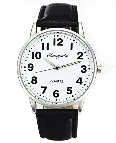 Men Women Casual Simple Black White Leather Deals Large Numbers Analog Quartz Wrist Watch
