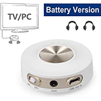 Avantree Priva IIA Bluetooth Transmitter, DUAL LINK aptX LOW LATENCY For TV, PC, Built-in BATTERY for portable use, RCA, 3.5mm Wireless Audio Adapter for Headphones [24M Warranty]