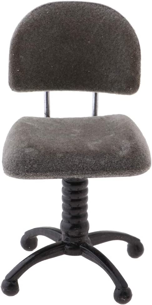 CUTICATE Miniature Chair, Tulip Chair, 1/12 Revolving Chair, Computer Chair for Dollhouse Furniture Kit, Dolls House Life Scene Ornament -Gray