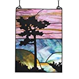 HF-99M Tiffany Style Stained Glass Tree Abstract Style Rectangular Window Hanging Glass Panel Sun Catcher, 4331 cm