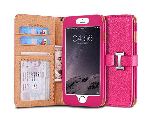 iPhone 6s Plus (5.5) Case, [Snow Fairy] iPhone 6 Plus Flip Case [Wristlet Series][Wallet] Cash Pocket - Wrist Strap PU Leather Case for iPhone 6 Plus - Special Design ID Slot Hot Pink