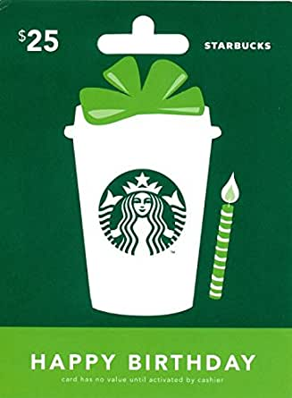 Amazon Com Starbucks Happy Birthday Gift Card 25 Gift Cards