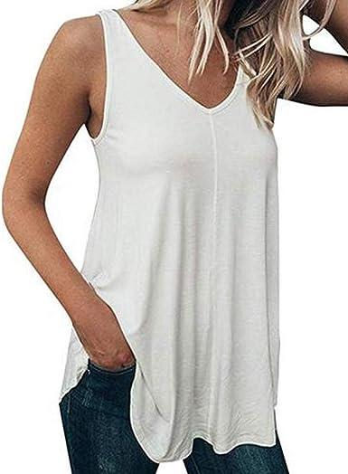 NEEKY Camisetas Tirantes Mujer Tallas Grandes - Verano Mujer Casual Camiseta de Tirantes Regular Fit Color Puro Cuello en v Sin Mangas(3XL, Blanco): Amazon.es: Ropa y accesorios