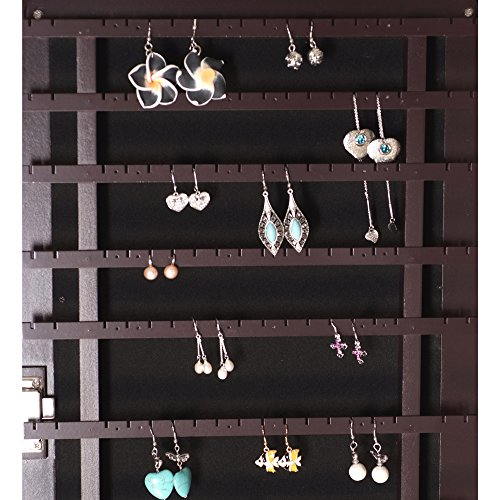 Ikee Design Wooden Jewelry Armoire with Mirror Rings Necklaces Bracelets, 16 1/2''W x 19''D x 60''H by Ikee Design (Image #3)