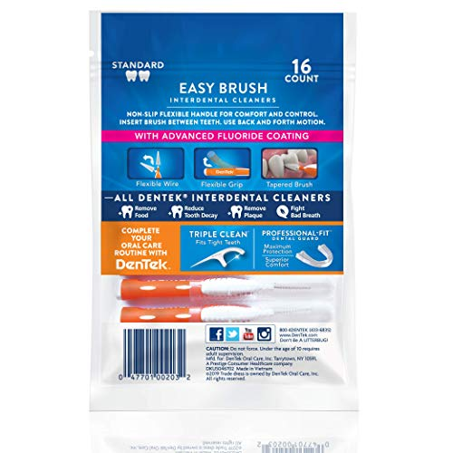 DenTek Easy Brush Interdental Cleaners  Brushes Between Teeth  Standard  Mint Flavor  16 Count  Pack of 6
