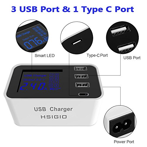 50%OFF HSIGIO 4-Port USB Charger, Desktop Charger Charging Station Multi Port Travel Fast Wall Charger Hub with Smart LCD for iPhone, iPad, Samsung, Smart Phones, Tablet and More (white)