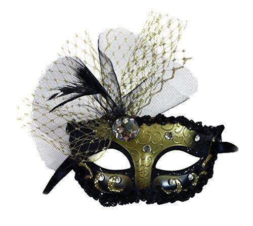 Elizabeth Black-Gold Masquerade Mask for Women