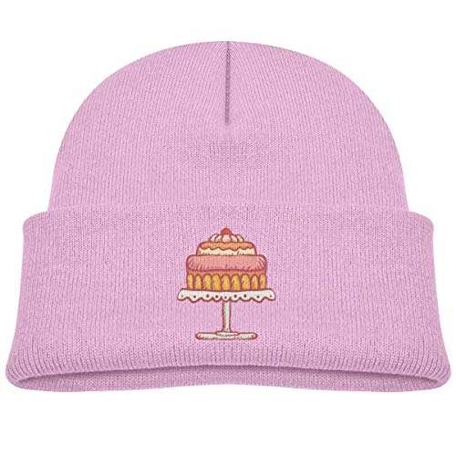 Kids Knitted Beanies Hat Three Layers Cherry Cake Winter Hat Knitted Skull Cap for Boys Girls Pink ()