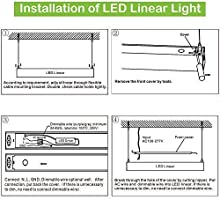 Hykolity LED Architectural Suspended Linear Channel Light Linkable, on