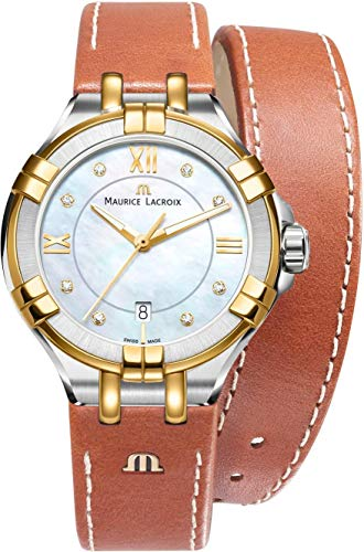 Gold Plated Mop Dial - Maurice Lacroix Aikon MOP Dial Leather Strap Ladies Watch AI1004-PVY11-171-1