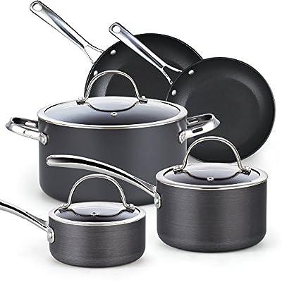 Cooks Standard 02487 8 Piece Hard Anodize Nonstick Cookware Set, Black