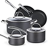Cooks Standard 02487 Black 8-Piece Nonstick Hard Anodized Cookware Set,