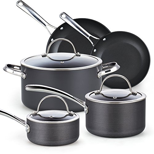 Cooks Standard 8-Piece Hard Anodized Nonstick Cookware Set, Black