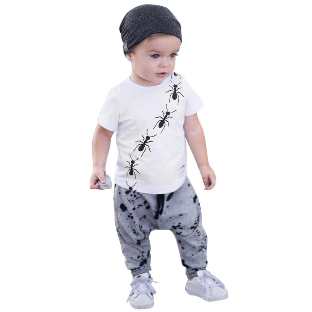 Lisin Toddler Baby Boy Short Sleeve O-Neck Ant Print Tops T-Shirt +Dot Pants Outfits Set