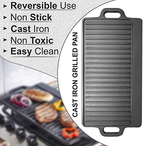 Griddle Pan Cast Iron Grill Pan | Non Stick Reversible Griddle Pan, Rectangular Plate | Large Pan Pre-seasoned 51 cm x 23 cm, Black