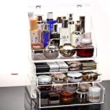 Big transparent cosmetic storage box/Dustproof clamshell storage rack/Desktop storage box-E