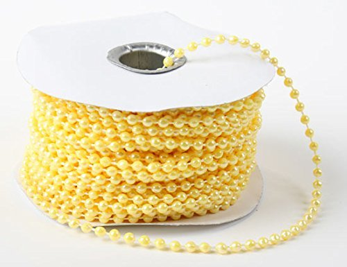 Yellow Faux Pearl - 4mm Faux Pearl Plastic Beads on a String Craft Roll Yellow