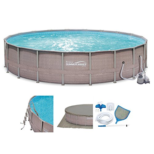Pool Frame Round (Summer Waves Elite Wicker Print 24' x 52